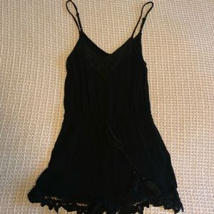 Francesca's Black Cotton Fitted Romper